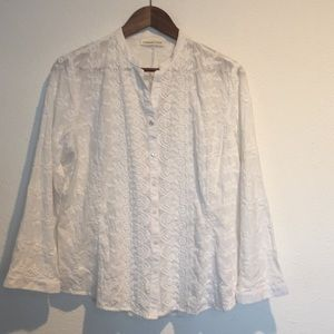COLDWATER CREEK WHITE EMBROIDERED BLOUSE